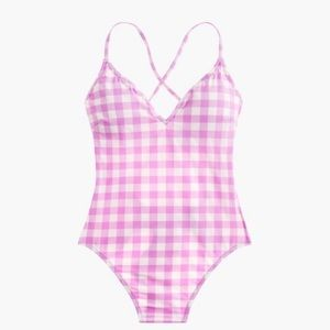 J. Crew Lace-up Back Swimsuit Matte Gingham NWT
